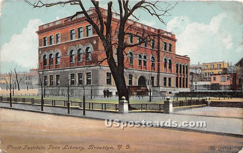 Pratt Institute Free Library - Brooklyn, New York NY Postcard
