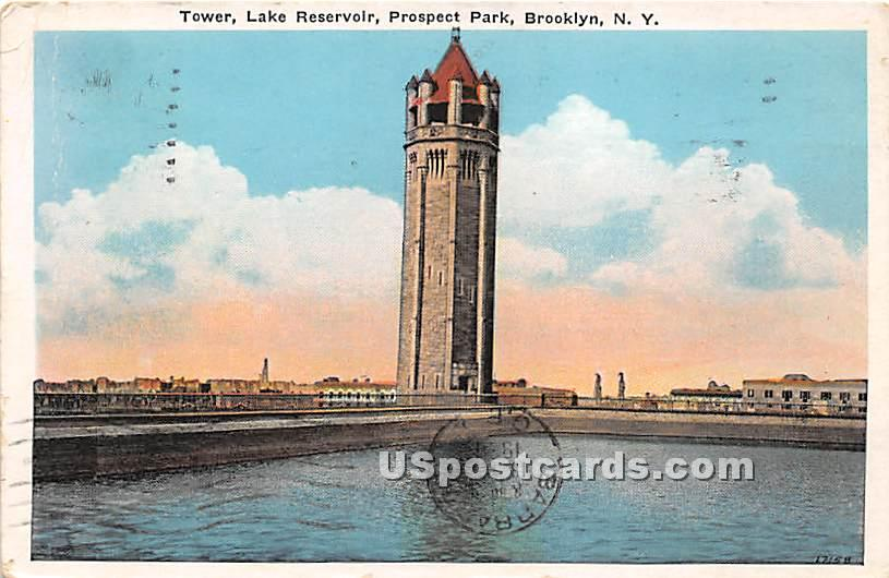 Tower, Lake Reservoir, Prospect Park - Brooklyn, New York NY Postcard