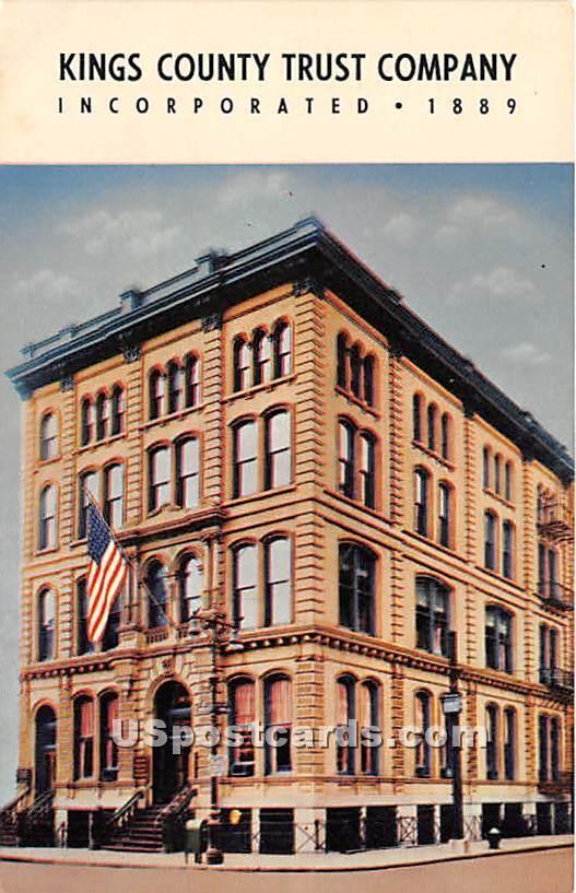 Kings' County Trust Company 1889 - Brooklyn, New York NY Postcard