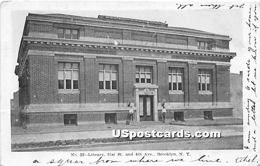 Library - Brooklyn, New York NY Postcard