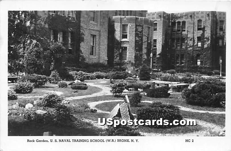 Rock Garden, US Naval Training School - Bronx, New York NY Postcard