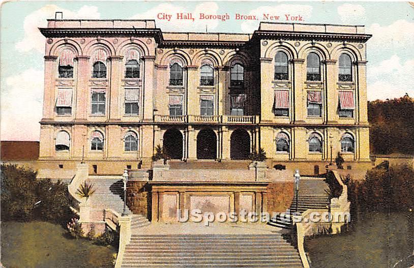 City Hall, Borough - Bronx, New York NY Postcard