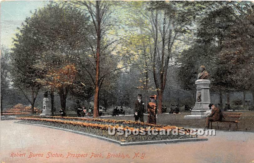 Robert Burns Statue, Prospect Park - Brooklyn, New York NY Postcard