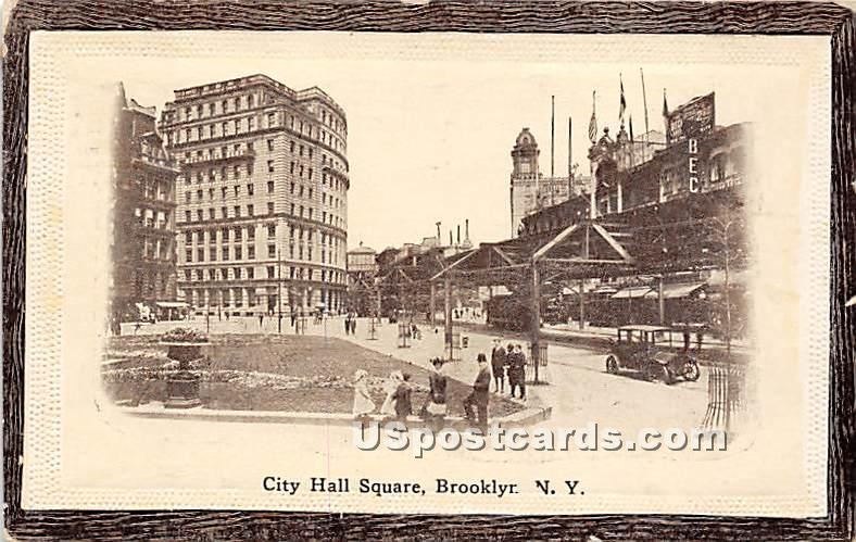 City Hall Square - Brooklyn, New York NY Postcard