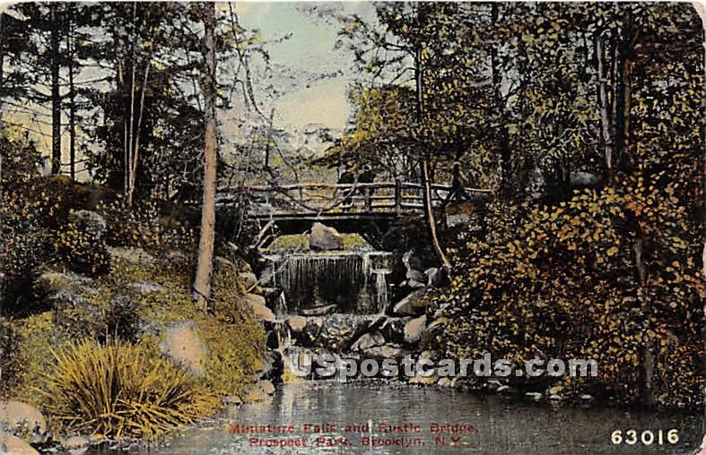Minature Falls, Rustic Bridge, Prospect Park - Brooklyn, New York NY Postcard