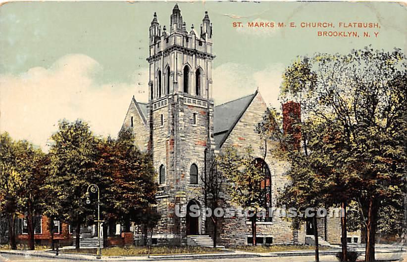 St Marks ME Church, Flatbush - Brooklyn, New York NY Postcard
