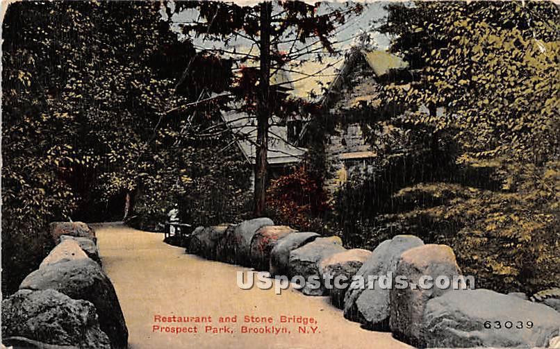 Restaurant & Stone Bridge, Prospect Park - Brooklyn, New York NY Postcard