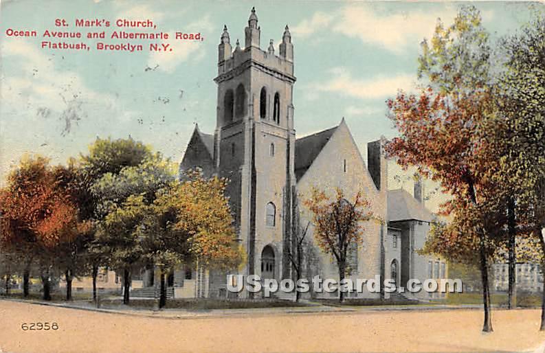 St Mark's Church - Brooklyn, New York NY Postcard