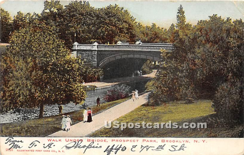 Walk Unter Bridge, Prospect Park - Brooklyn, New York NY Postcard