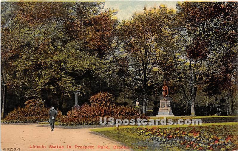 Lincoln Statue, Prospect Park - Brooklyn, New York NY Postcard