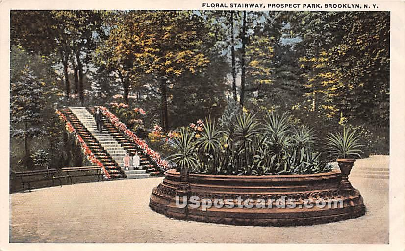 Floral Stairway, Prospect Park - Brooklyn, New York NY Postcard