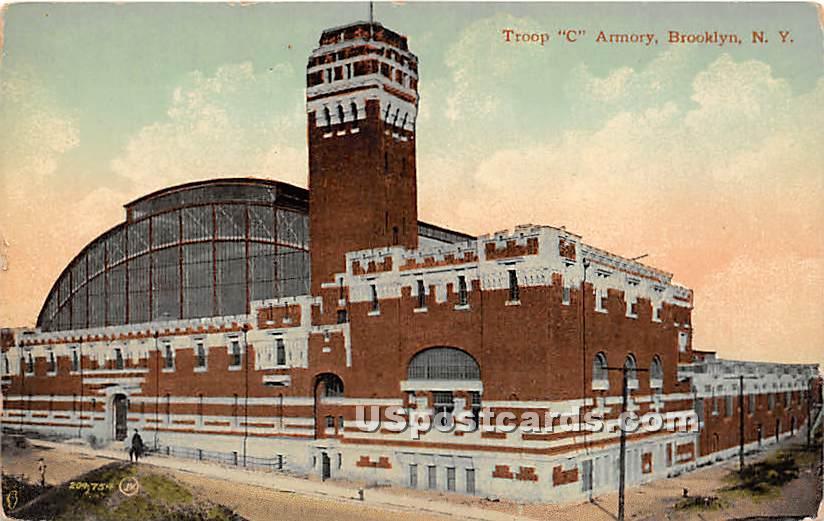 Troop C Armory - Brooklyn, New York NY Postcard