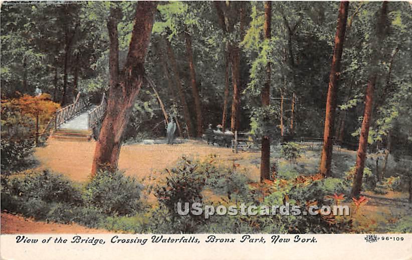 Bridge, Waterfalls - Bronx Park, New York NY Postcard