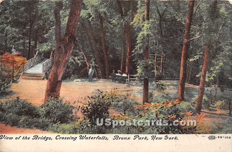 Bridge, Crossing Waterfalls - Bronx Park, New York NY Postcard