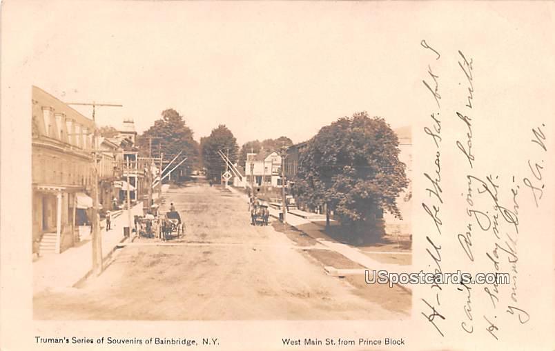 West Main Street - Bainbridge, New York NY Postcard