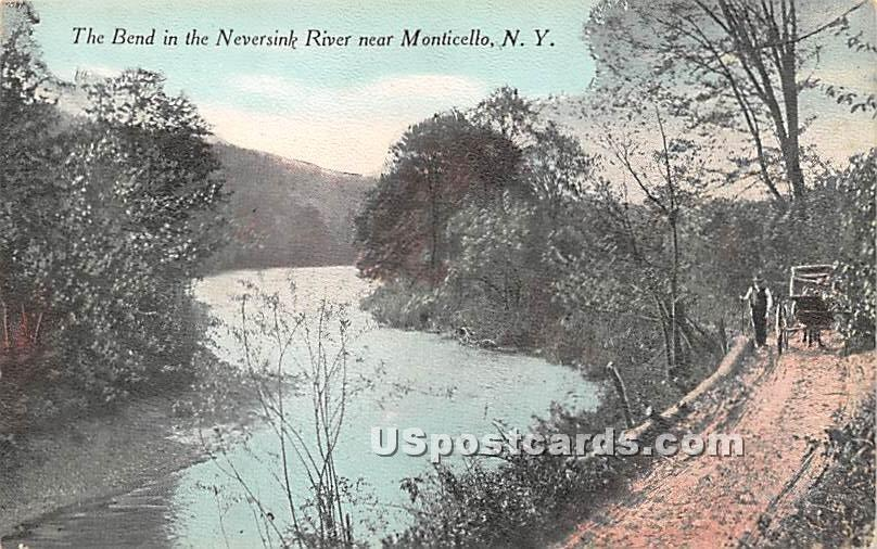 The Bend in the Neversink River - Bridgeville, New York NY Postcard