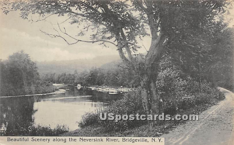 Beautiful Scenery along the Neversink River - Bridgeville, New York NY Postcard