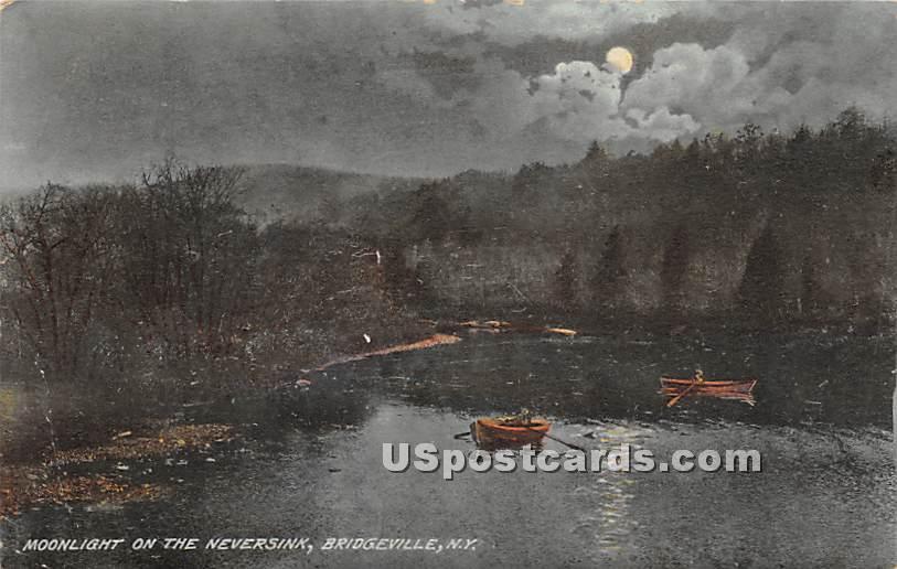 Moonlight on the Neversink - Bridgeville, New York NY Postcard