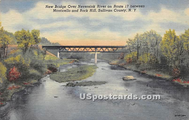 New Bridge Over Neversink River - Bridgeville, New York NY Postcard