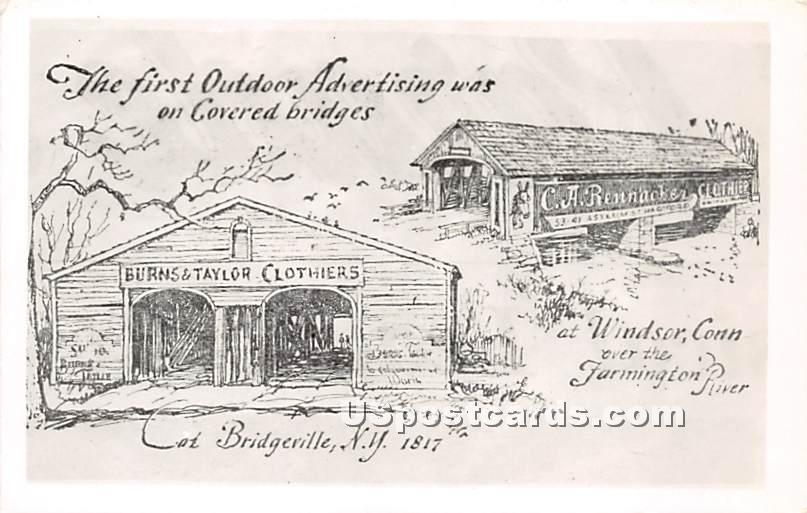 The First Outdoor Advertising was on Covered Bridges - Bridgeville, New York NY Postcard