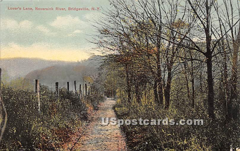 Lover's Lane - Bridgeville, New York NY Postcard