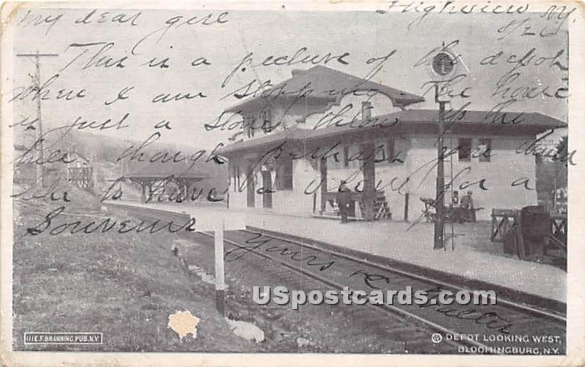 Depot Looking West - Bloomingburg, New York NY Postcard
