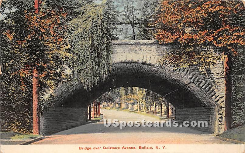 Bridge, Delaware Avenue - Buffalo, New York NY Postcard