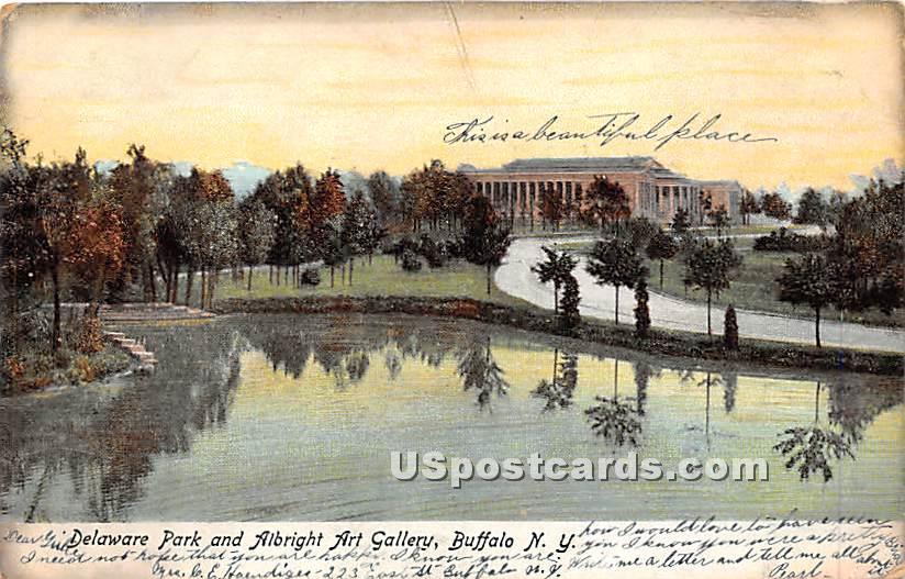 Delaware Park & Albright Art Gallery - Buffalo, New York NY Postcard
