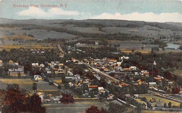 Bird's Eye View Bainbridge, New York Postcard