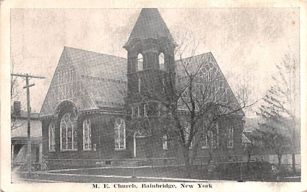 ME Church Bainbridge, New York Postcard