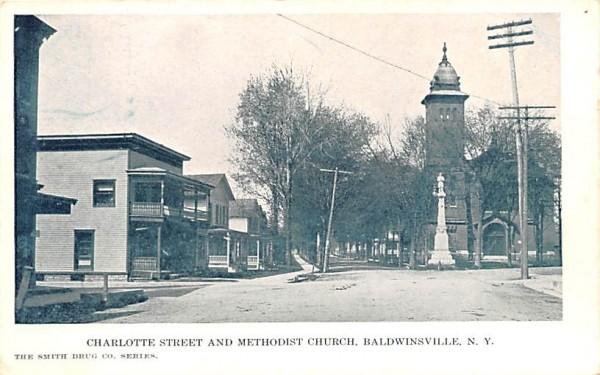 Charlotte Street & Methodist Church Baldwinsville, New York Postcard