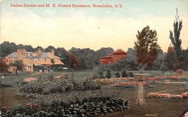 Italian Garden and MK Husted Residence Broadalbin, New York Postcard
