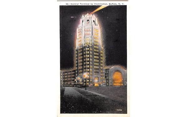 Central Terminal by Illumination Buffalo, New York Postcard