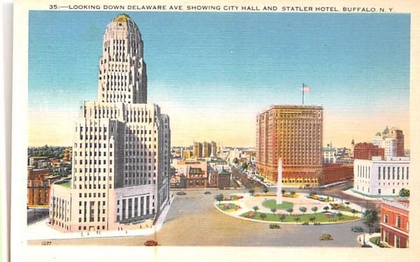 Looking Down Delaware Avenue Buffalo, New York Postcard