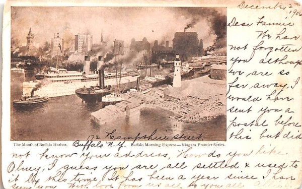 Mouth of Buffalo Harbor New York Postcard