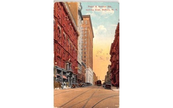 Pearl & Seneca Streets Buffalo, New York Postcard