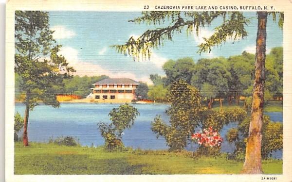 Cazenovia Park Lake & Casino Buffalo, New York Postcard