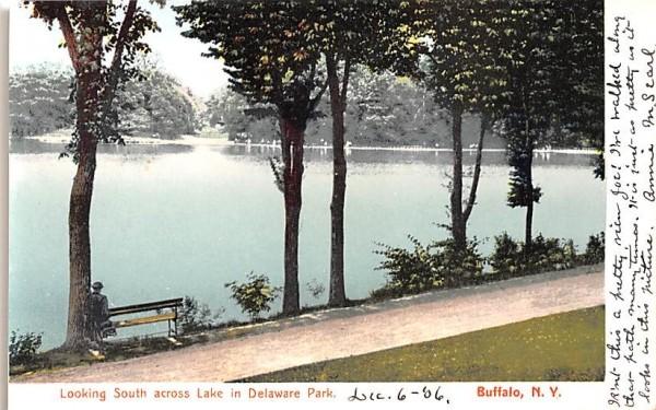 Looking South across Lake in Delaware Park Buffalo, New York Postcard