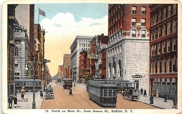 North on Main Street Buffalo, New York Postcard