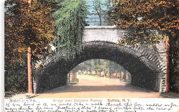 Bridge over Delaware Avenue Buffalo, New York Postcard