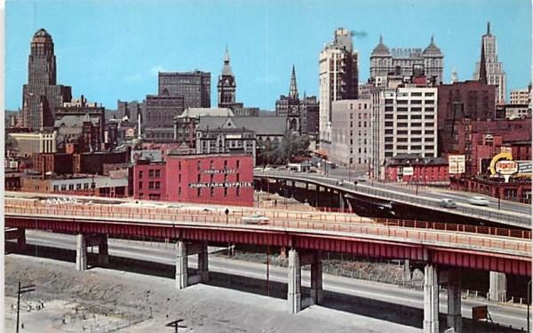 Buffalo Skyline & Part of Skyway Bridge New York Postcard