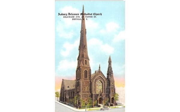 Asbury Delaware Methodist Church Buffalo, New York Postcard