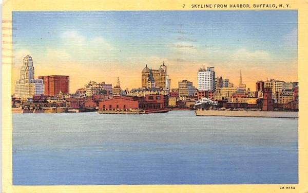Skyline from Harbor Buffalo, New York Postcard