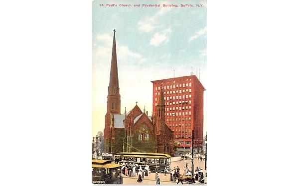 St Paul's Church & Prudential Building Buffalo, New York Postcard