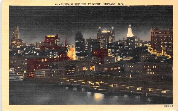 Buffalo Skyline at Night New York Postcard
