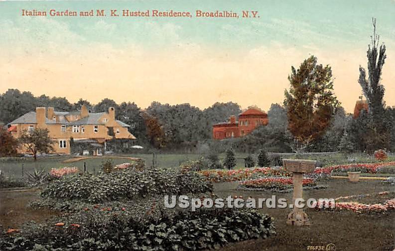 Italian Garden & MK Husted Residence - Broadalbin, New York NY Postcard