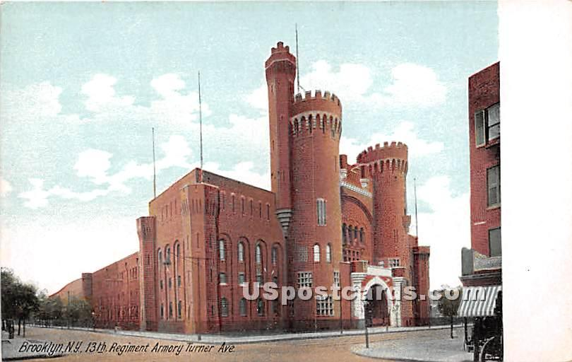 13th Regiment Armory Turner Ave - Brooklyn, New York NY Postcard