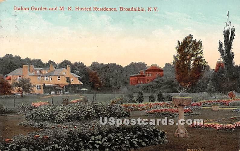 Italian Garden, MK Husted Residence - Broadalbin, New York NY Postcard