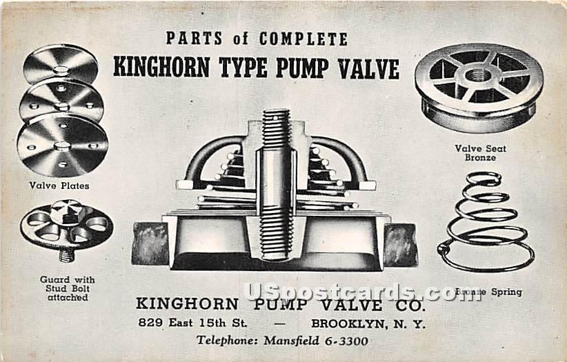 Kinghorn Type Pump Valve Co - Brooklyn, New York NY Postcard