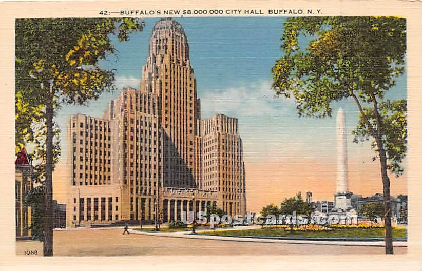 Buffalos New 8,000,000 City Hall - New York NY Postcard